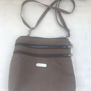 Handbags - Baggalini Cross body, dk beige,  lt blue int.